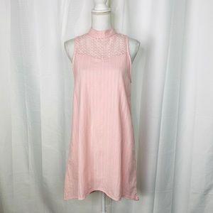 Ace Fashion Pink Striped Lace Yoke Hi-Lo Hem Dress